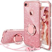 iPhone 7 Case, iPhone 8 Case, Glitter Cute Phone Case Girls with Kickstand, Bling Diamond Rhinestone Bumper with Ring Stand Thin Soft Protective Pink Apple iPhone 7 / 8 Case for Girl Women - Rose Gold