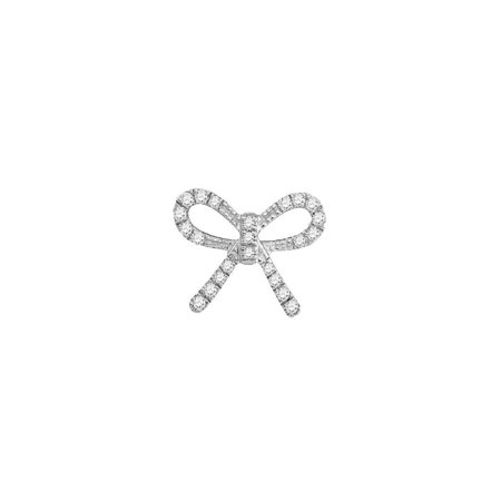 - 10kt White Gold Womens Round Diamond Knot Bow Pendant Necklace 1/10 Cttw