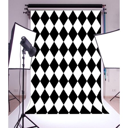 MOHome Polyster Backdrop,Shooting Portraits 5x7ft Photography Background,Black and White Squares Floor Mosaic Pattern Checkered Floor Backdrop Photo Studio Props