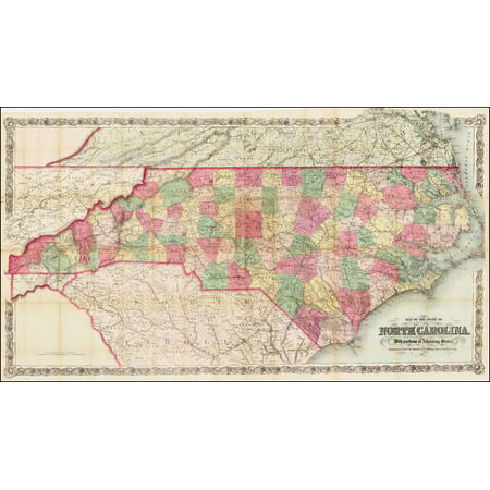 LAMINATED POSTER Map of the State of North Carolina, With portions of Adjoining States . . . 1866 POSTER PRINT 24 x 36