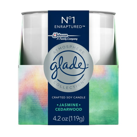 Poured Pure Soy Travel Candle - Glade Atmosphere Collection Crafted Soy Candle Air Freshener, No 1 Enraptured, 4.2 oz