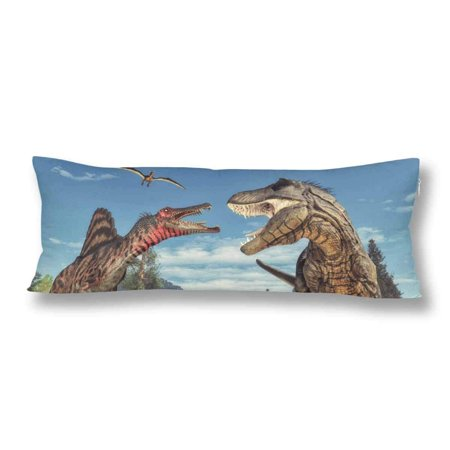 ABPHOTO Ancient Animal Dinosaur Body Pillow Covers Pillowcase 20x60 inch Funny Body Pillow Case Protector ()
