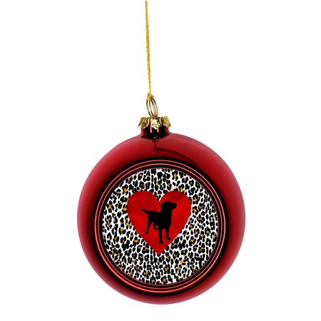 Ornament Dog Silhouette on a Red Heart on Leopard Print Bauble Christmas Ornaments Red Bauble Tree Xmas Balls](Leopard Christmas Ornaments)
