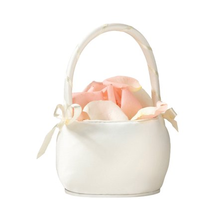 Lillian Rose Round Satin Flower Girl Basket - Ivory