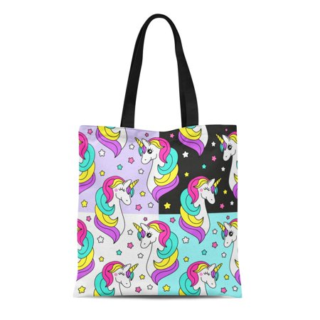 JSDART Canvas Bag Resuable Tote Grocery Shopping Bags Cute of Childish Patterns Cartoon Character Magic Unicorn Beautiful Tote Bag - image 1 of 1