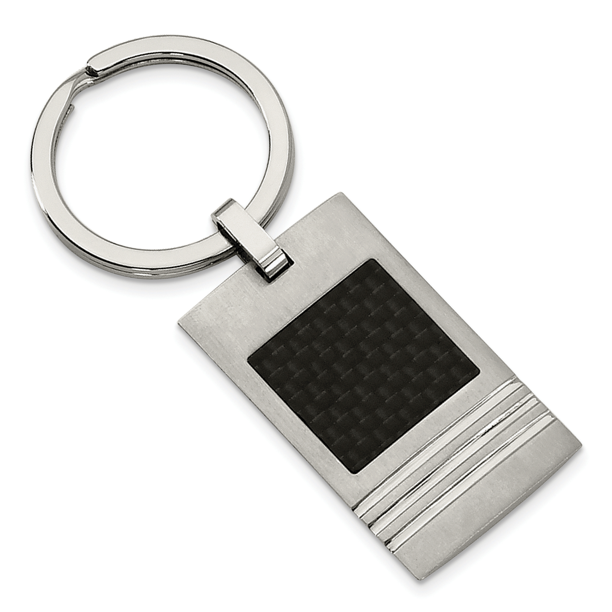 Stainless Steel Brushed Black Carbon Fiber Inlay Key Ring SRK113 by Chisel
