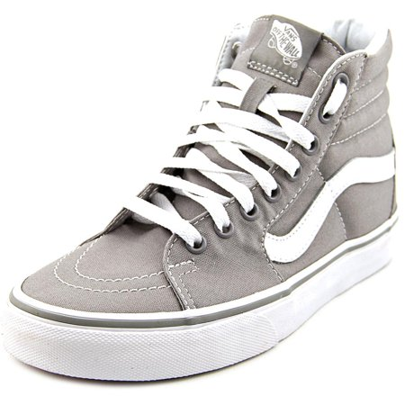 Grey Vans - Vans Sk8-Hi Women  Round Toe Canvas Gray Skate Shoe