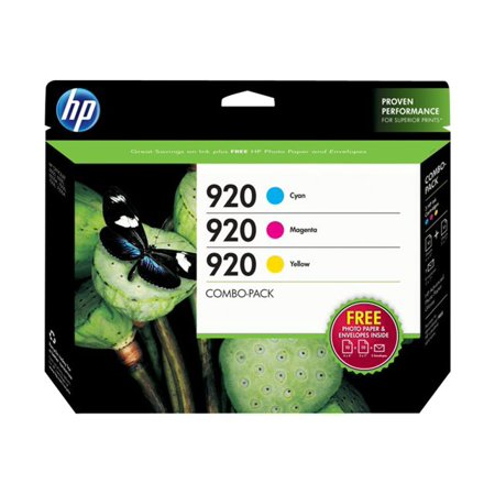 HP 920 Cyan/Magenta/Yellow Original Ink Cartridges w/Photo Paper, 3 pack (B3B30FN)