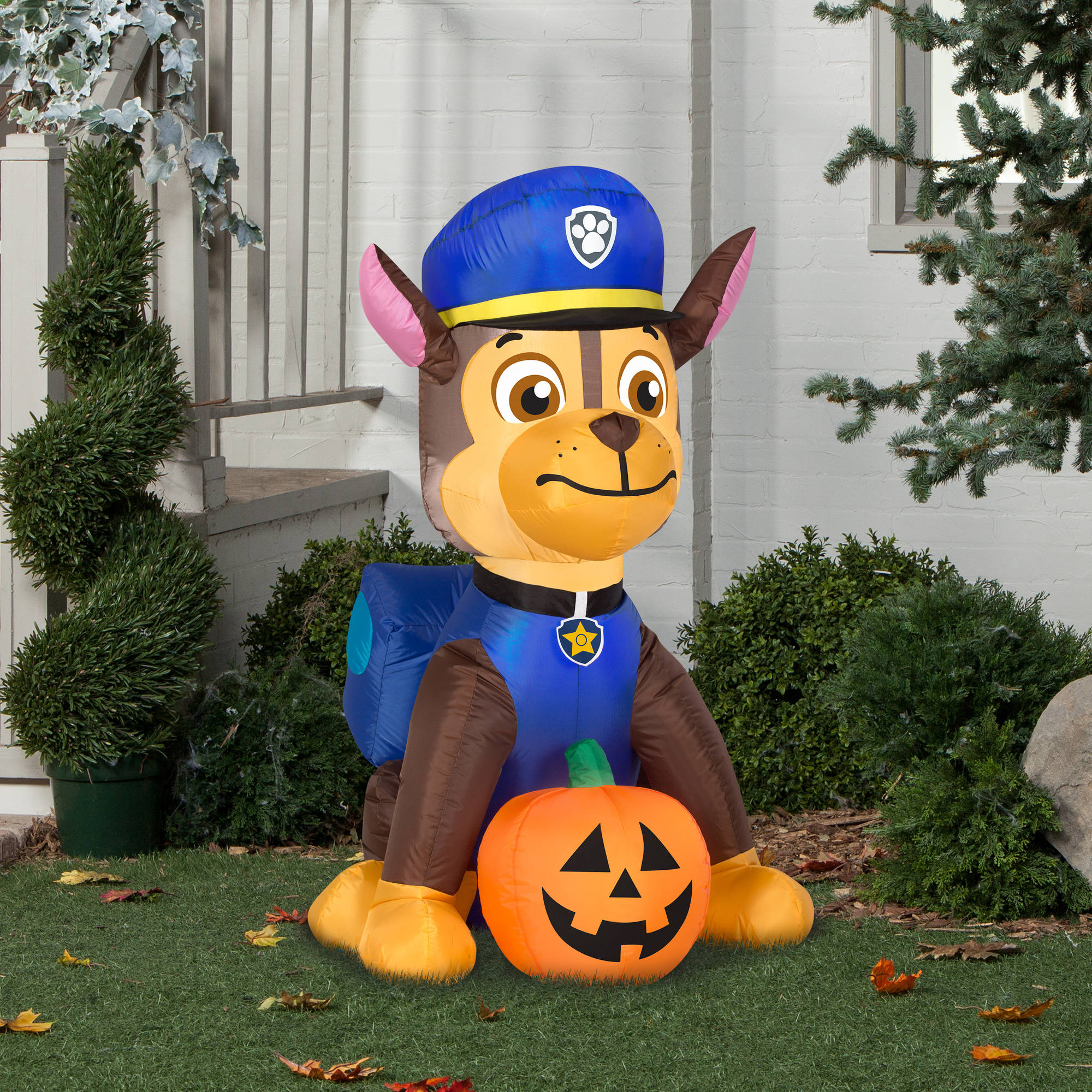 gemmy airblown inflatable 4 x 2 paw patrol chase with pumpkin halloween decoration walmartcom