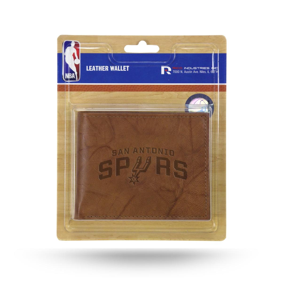 San Antonio Spurs NBA Embossed Brown Leather Billfold Wallet