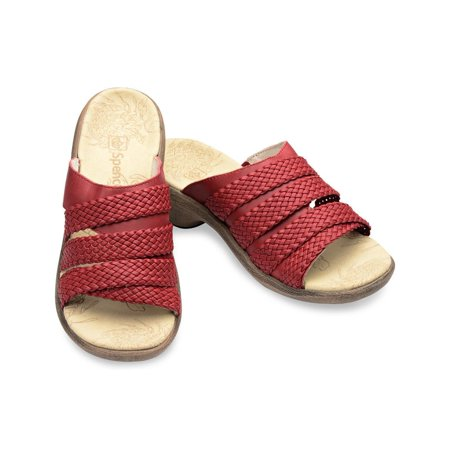 New Spenco Virginia Total Arch Support Orthotic Slip On Slide Sandals Red