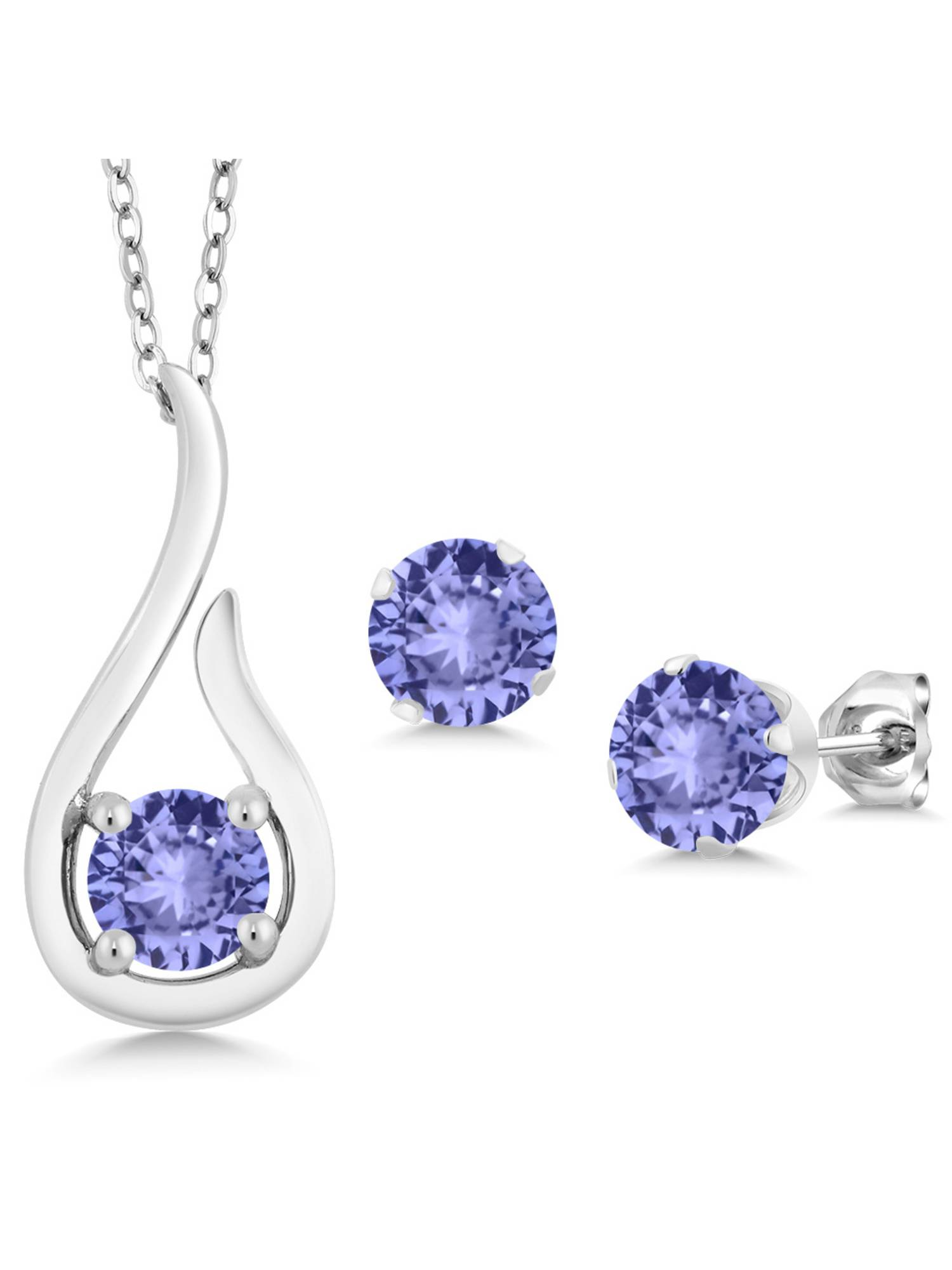 1.38 Ct Round Blue Tanzanite 925 Sterling Silver Pendant Earrings Set With Chain by