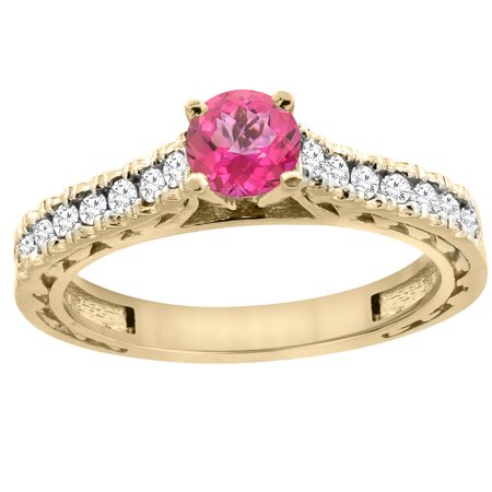 14K Yellow Gold Natural Pink Topaz Round 5mm Engraved Engagement Ring Diamond Accents, size 9.5