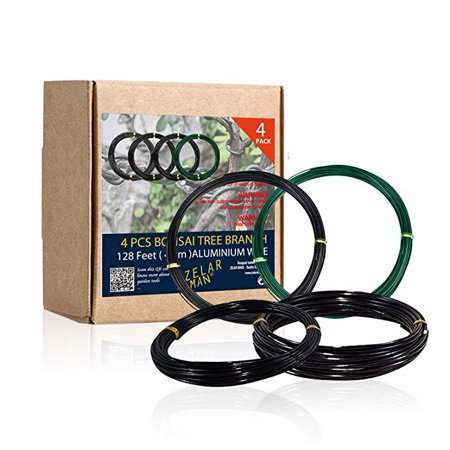 Bonsai Training Wire Set of 4 - Total 128 Feet(32 Feet Each Size) 3 Size - 1.0MM,1.5MM,2.0MM - Corrosion and Rust