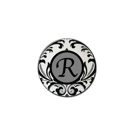 Letter R Formal Fancy Lapel Hat Pin Tie Tack Small Round