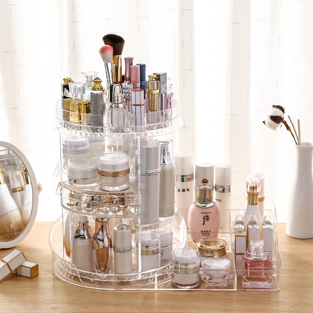 Makeup Cosmetic Storage Organizer 360 Rotating Adjustable Makeup Organizer 7 Layers Large Capacity Cosmetic Storage Rack Multi Transparent Makeup Storage Organizer Storage Box With Tray R1072 Walmart Com Walmart Com