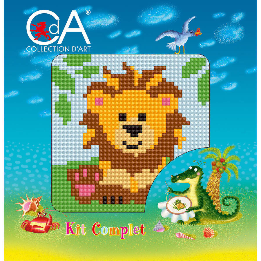 Collection D'Art Stamped Needlepoint Kit, 15cm x 15cm, Lionet