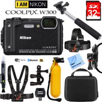 Nikon COOLPIX W300 16MP 4k Ultra HD Waterproof Digital Camera Black (26523) with 32GB Memory Card, Cleaning Kit, BLTCHM1 Clip Head Mount Kit, Yellow Floating Bobber Handle & More