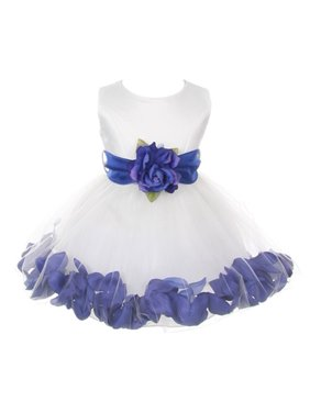 5afb505a80e Product Image Baby Girls White Royal Blue Petals Organza Sash Flower Girl  Dress 6-24M