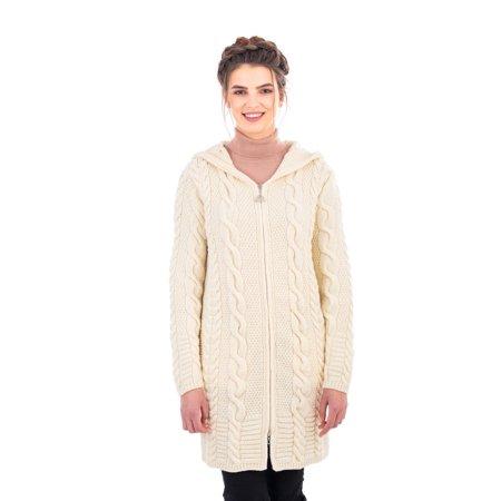 SAOL Ladies 100% Merino Wool Aran Cable Knit Hooded Zip Coatigan Cable Knit Zip