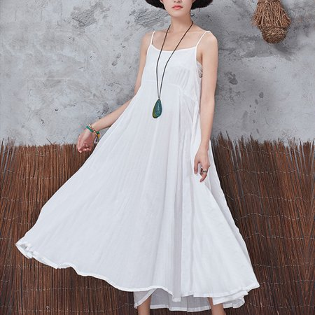 bef8140b5b84f Women's Summer Spring Loose Vintage Spaghetti Strap Long Dress Maxi ...