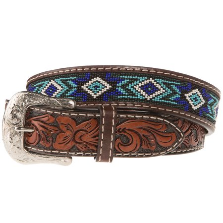 Western Fashion Accessories Mens   Belt With Blue And Turquoise Beading 34 Brown Western Fashion Accessories  Mens  Brown  Blue And Turquoise Beading  Belt  XIBC 1