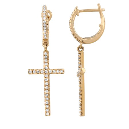 14k Yellow Gold Holy Cross Dangle Earring 0.26ct Diamond Earrings For Women & Teens