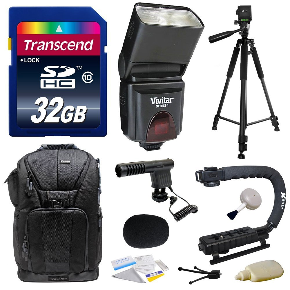 Sony NEX, Alpha, Cybershot, SLT Series Kit with Transcend 32GB Memory Card, Vivitar DF-293 Shoe Mount Auto Focus Bounce Zoom Swivel Flash for Sony (VIVDF293S), Tripod, Backpack, Condenser Microphone