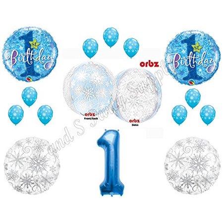 Winter Party Supplies (WINTER ONE-DERLAND Orbz 1st Birthday party Balloons Decoration Supplies First Snow)