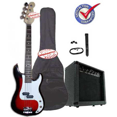 Electric Bass Guitar Pack with 20 Watts Amplifier, Gig Bag, Strap, and Cable, Cherryburst