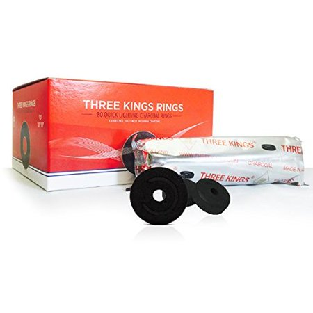 THREE KINGS RING CHARCOAL 44MM BOX: SUPPLIES FOR HOOKAHS – 80pc of Quick-light shisha coals for hookah pipes. These Easy Lite coal accessories & parts are instant lighting when using a torch (Best Shisha Pipe In The World)