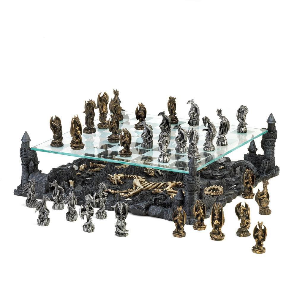 Battle Chess Set, Adult Glass Dragon Battle Theme Chess Set Board by DRAGON CREST
