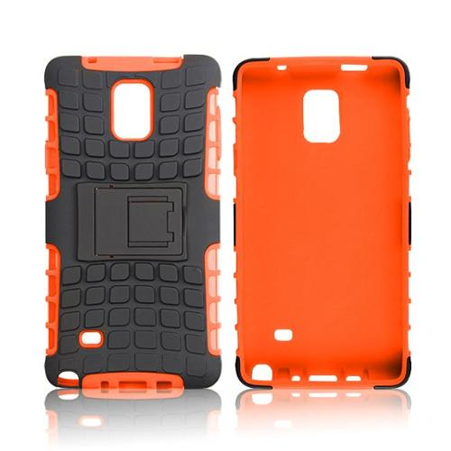 rooCASE Galaxy Note 4 Case - rooCASE [BLOK Armor] Note 4 Hybrid Dual Layer Rugged Tough Case Cover with Kickstand rooCASE Made for Samsung Galaxy Note 4, Orange