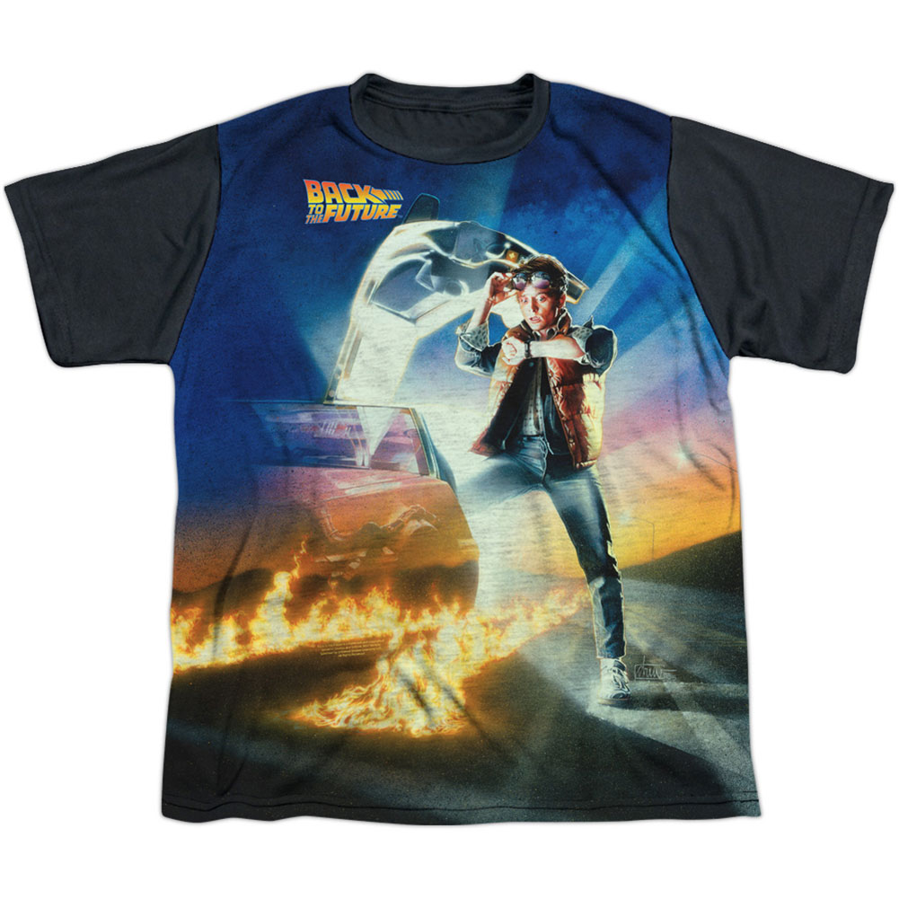 Back To The Future Men's  Movie Poster Sublimation T-shirt White
