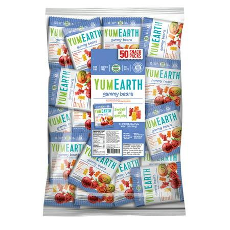 YumEarth Gummy Bears 35 oz Bulk (50 Snack Packs)