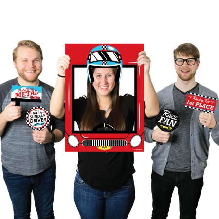 Let's Go Racing - Racecar - Baby Shower or Race Car Birthday Party Selfie Photo Booth Picture Frame & Props (Race Car Pictures)