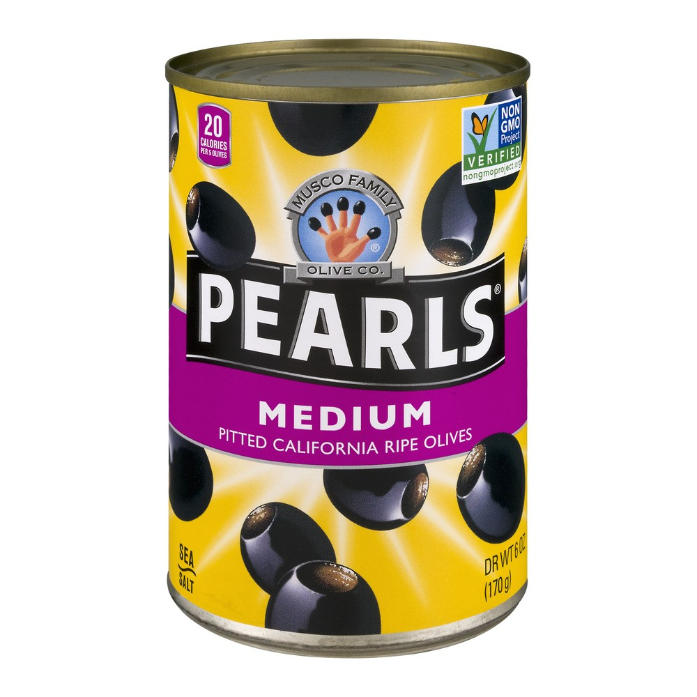 Musco Family Olive Company Pearls Pitted California Ride Olives, Medium, 6 Oz