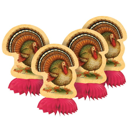 (3 pack) Festive Turkey Thanksgiving Centerpiece Decorations, 6 in, 12ct total - Turkey Centerpieces Thanksgiving
