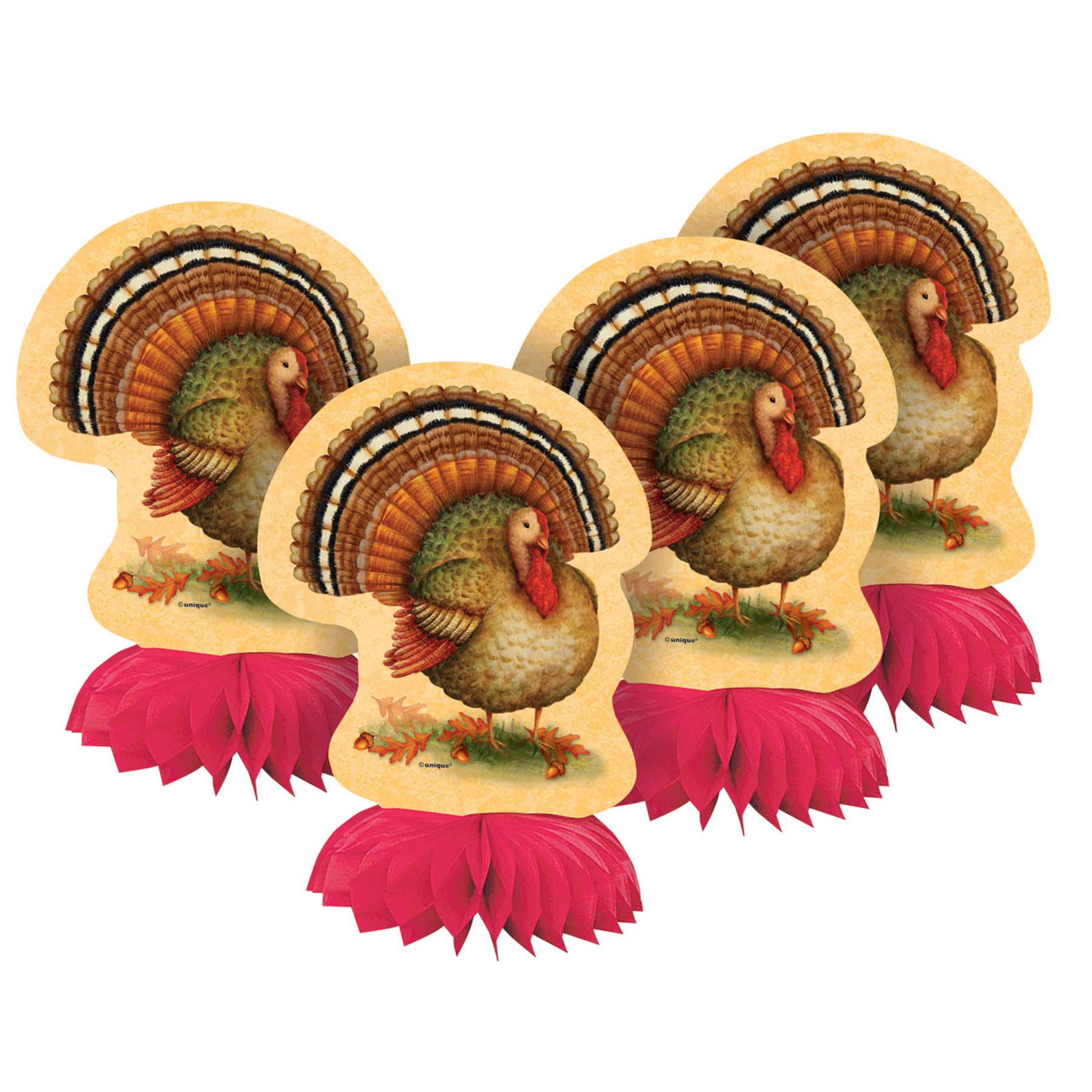 (3 pack) Festive Turkey Thanksgiving Centerpiece Decorations, 6 in, 12ct total