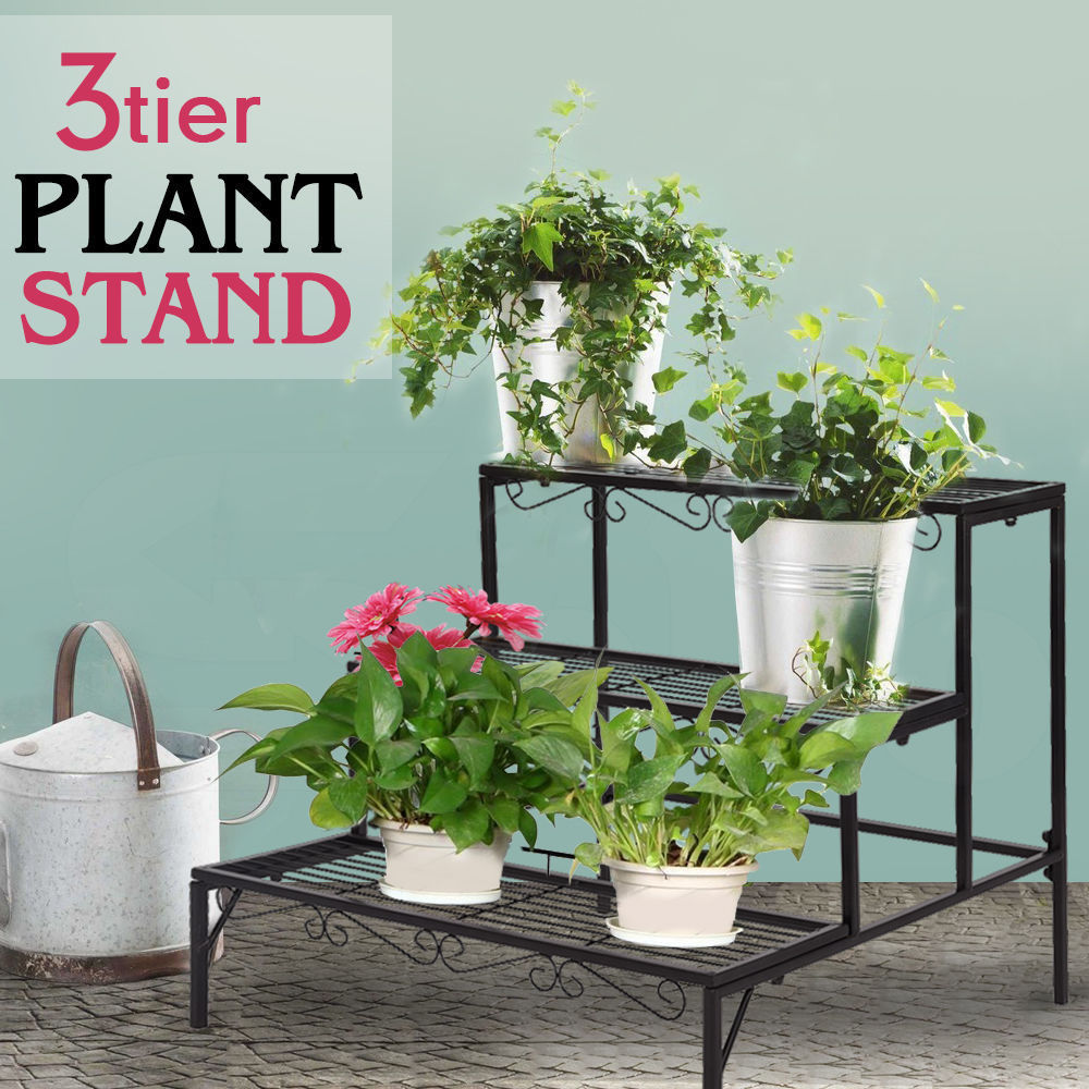 3 Tier Shelf Flower Plant Display Stand Rack Large Modern Black Metal Heavy Duty by