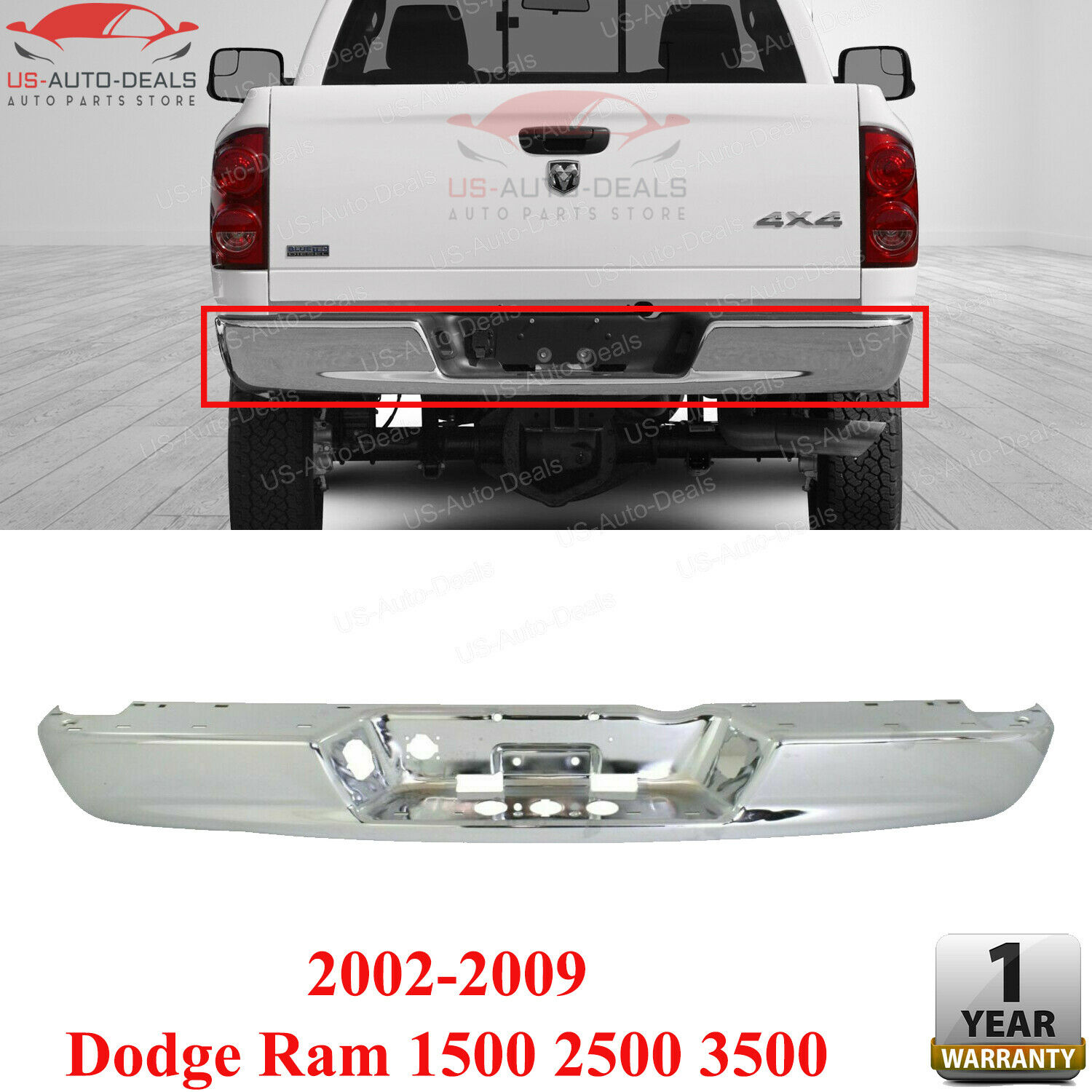 For 2003-2009 DODGE RAM PICKUP 2500 3500 REAR STEP BUMPER FACE BAR CHROME NEW