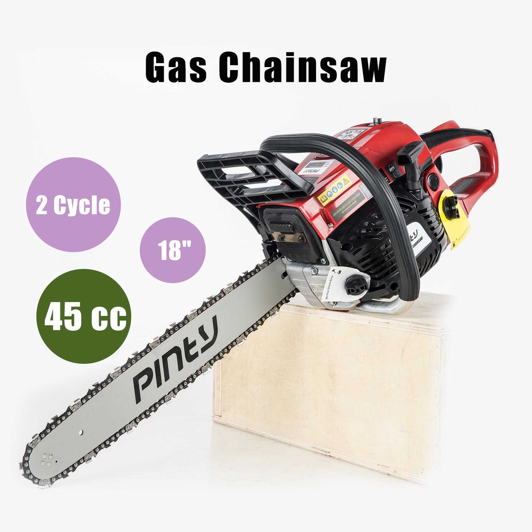 "18"" 45.1 cc EPA Approved Gas Powered Heavy Duty Chainsaw w/ 2-stroke Engine"