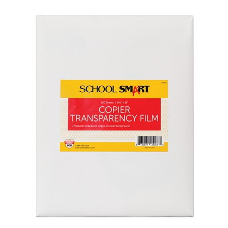 Overhead Copier Transparency Film - Copier Transparency Film without Sensing Strip - 8 1/2 x 11 inches - Pack of 100Designed for plain paper copiers By School Smart