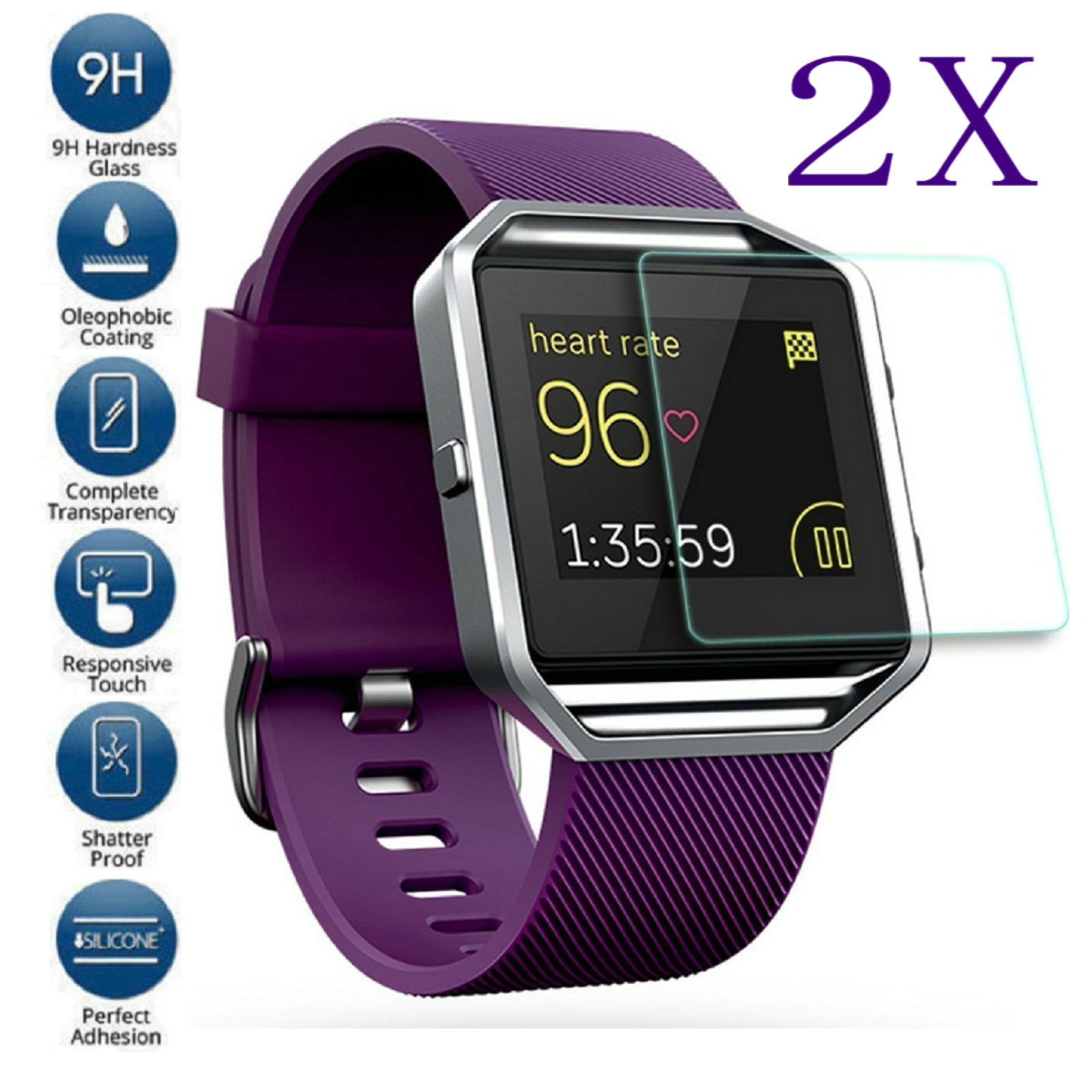 2 Pack Premium Crystal Clear Tempered Glass Screen Protector Cover for FitBit Blaze - 2 Pcs AmazingForLess