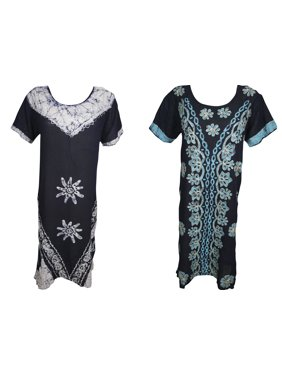 Mogul Womens 2PC Beach Caftan Dress Half Sleeves Batik Print Embroidered Loose Fit Summer Fashion Boho Chic Sundress L