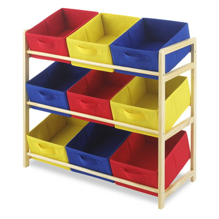 Whitmor 9-Bin Kids Organizer Rack - 3-Tier - Primary Colors