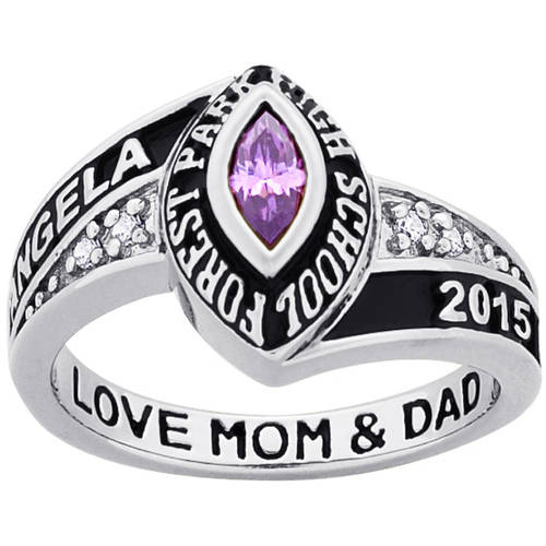 Personalized Girl's Platinum-Plated Celebrium Marquise Birthstone and CZ Class Ring