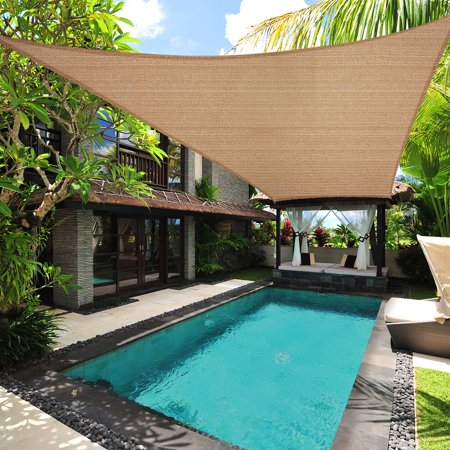 Sun Shade Sail Permeable Rectangle Square Outdoor Patio Deck Pool Canopy UV Top, 13' x 20',Desert Sand ()