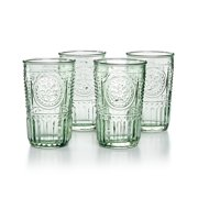 Bormioli Rocco Romantic Glass Drinking Tumbler Victorian Inspired 10.25 Oz Set Of 4, Pastel Green