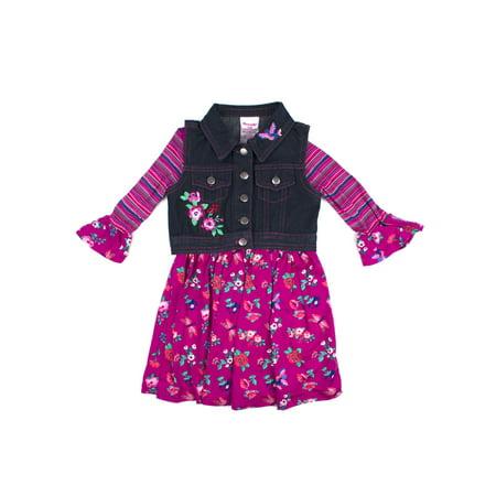 Nannette Printed Jersey Dress and Embroidered Denim Vest 2-Piece Set (Little Girls) - Jersey Shore Dress Up